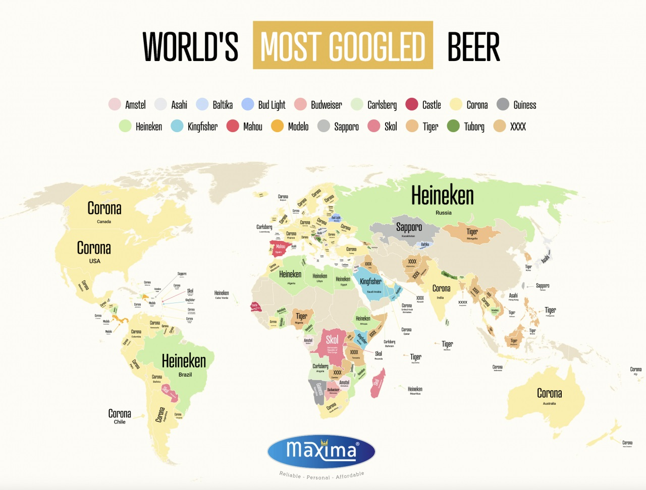 На основе запросов Google составлена карта популярности пива