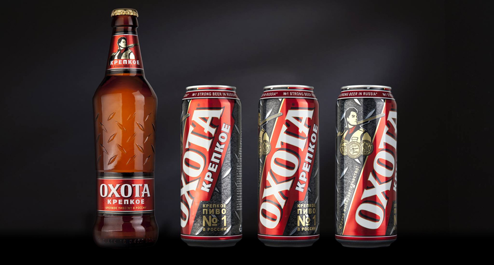 """Россия. Uniqa Creative Engineering разработали новый дизайн упаковки пива """"Охота Крепкое"""""""